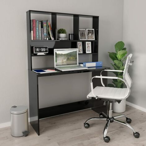Desk with Shelves High Gloss Black 110x45x157 cm Chipboard