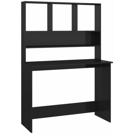 Desk with Shelves High Gloss Black 110x45x157 cm Chipboard