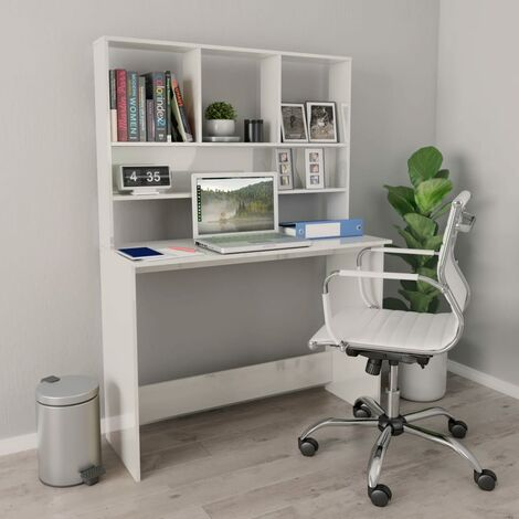 Desk with Shelves High Gloss White 110x45x157 cm Chipboard