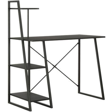 Desk with Shelving Unit Black 102x50x117 cm