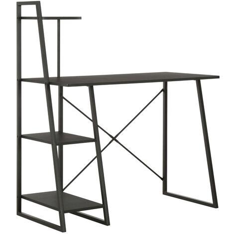 Desk with Shelving Unit Black 102x50x117 cm - Black