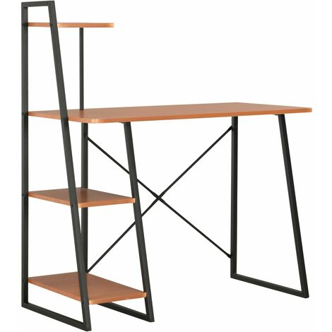 Desk with Shelving Unit Black and Brown 102x50x117 cm