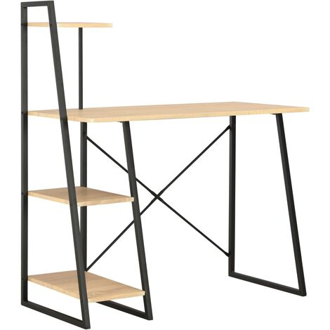 Desk with Shelving Unit Black and Oak 102x50x117 cm - Brown