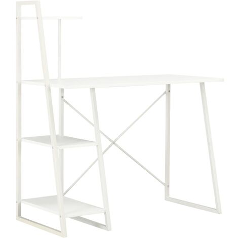 Desk with Shelving Unit White 102x50x117 cm - White