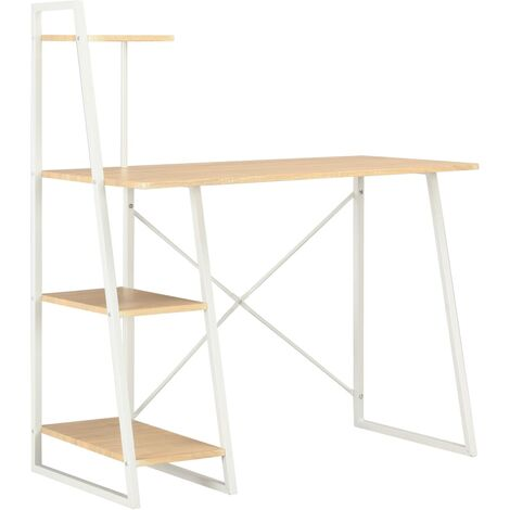 Desk with Shelving Unit White and Oak 102x50x117 cm - Brown