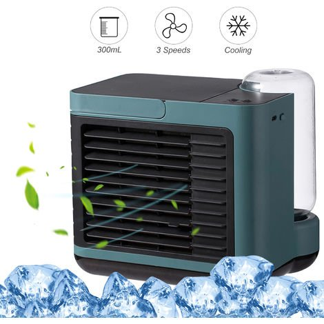 Desktop Air Cooler Fan with LED Light Small Personal USB 3 Speeds Desk Fan with 300mL Water Tank
