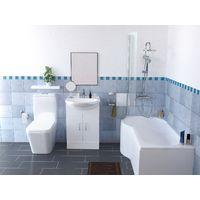 Desner P Shape Left Hand Bath suite - Close Coupled Toilet + Basin Vanity Unit