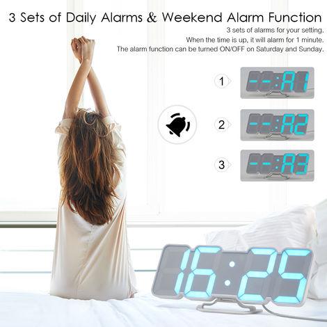 Despertador 3D inalambrico inalambrico digital RGB LED, blanco