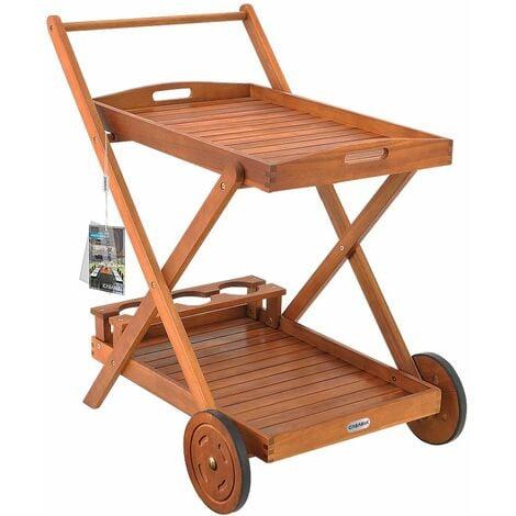 Desserte à roulettes en bois d'Acacia - chariot de service à 2 étages avec 3 porte bouteilles - plateau repas