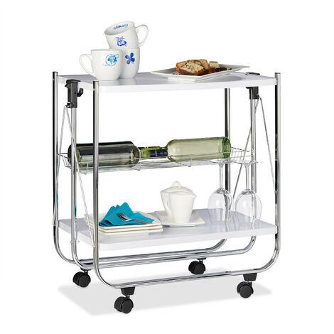 Desserte à roulettes pliante chariot de cuisine 2 étages métal corbeille HxlxP: 68,5 x 68 x 40,5 cm, blanc