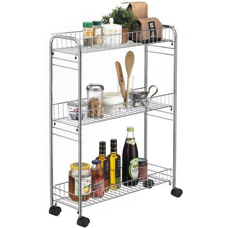 Desserte à roulettes ZETA chariot de service pour cuisine ou salle de bain meuble de rangement avec 3 paniers, en métal chromé
