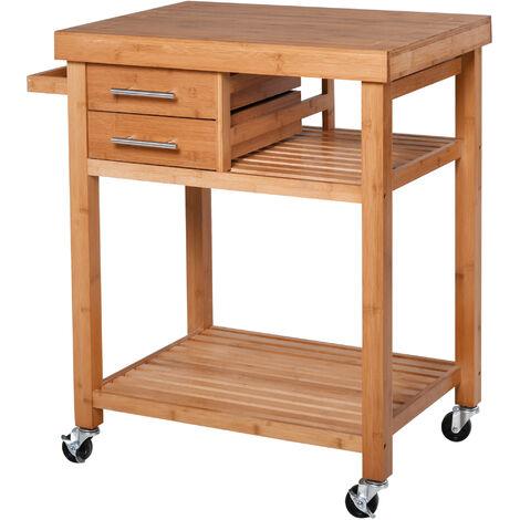 Desserte chariot de cuisine - 2 tiroirs poignées métal, 2 étagères, porte-torchon - bois massif bambou verni