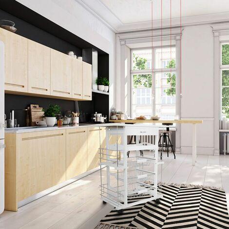 Desserte Cuisine Mobile Meuble de Rangement à Roulettes 4 étages - Blanc - Blanc