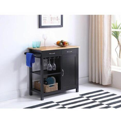 Desserte cuisine plateau pin massif 2 tiroirs 2 étagères 79*82*40cm - Noir laqué