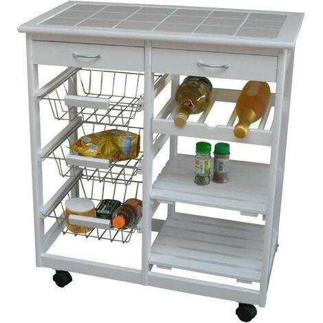 Desserte de cuisine Blanc 67 * 37 * 75 deux tiroirs 6 compartiments rack