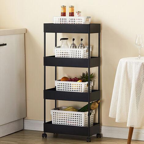 Desserte de cuisine Chariot multifonctionnel amovible noir à quatre couches de 40 * 22 * 90cm / chariot de stockage / étagère