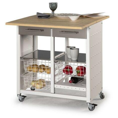 Desserte de cuisine double convertible en table d\'appoint, EKO - Cerisier Le Gard