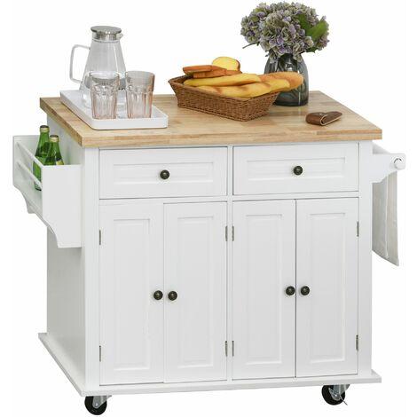 Desserte de cuisine multi rangements 2 tiroirs 2 placard 2 portes avec étagère range-bouteille porte-torchons MDF blanc hévéa