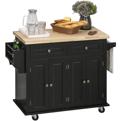 Desserte de cuisine multi rangements 2 tiroirs 2 placard 2 portes avec étagère range-bouteille porte-torchons MDF noir hévéa
