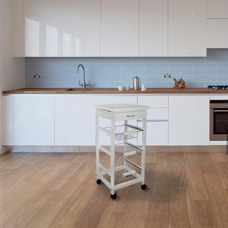 Desserte de cuisine Rack mobile à trois niveaux blanc