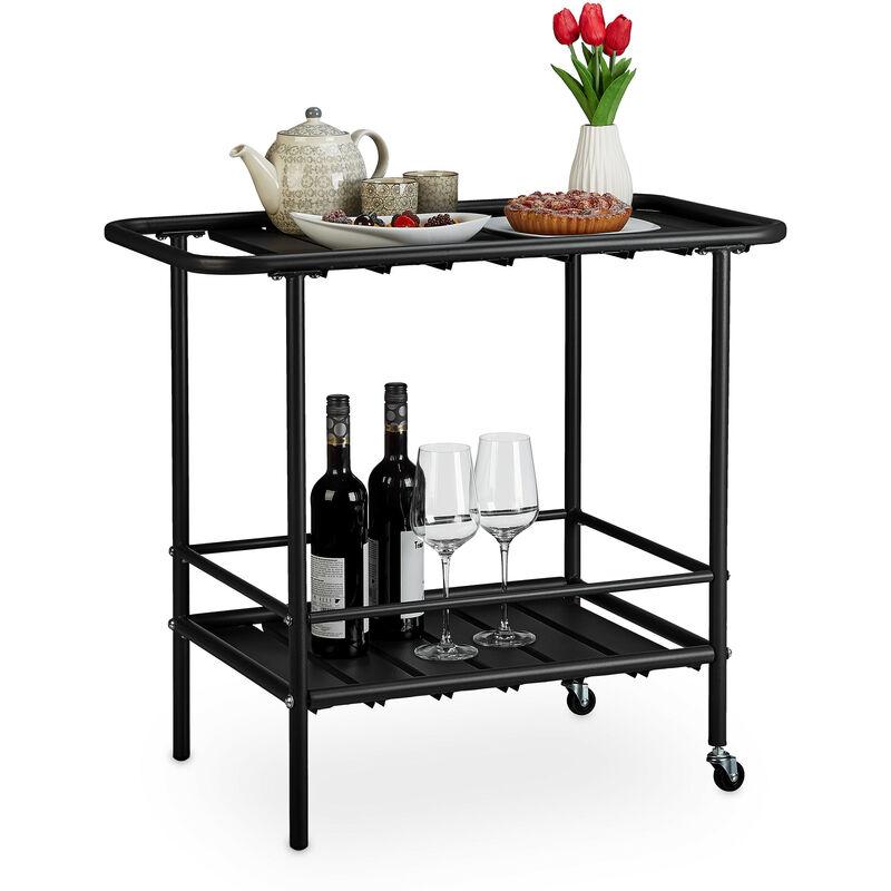 Desserte de cuisine, roues flexibles, chariot de service extérieur, moderne, acier, HxLxP 72x45x80,5 cm, noir