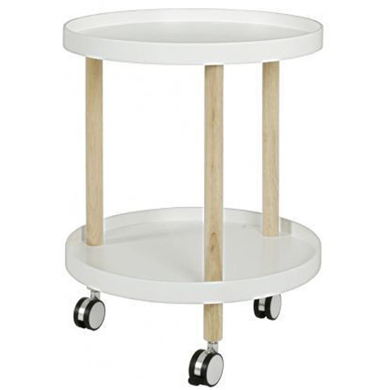 Desserte en bois massif coloris blanc - Dim : Diam 60 x H50 cm