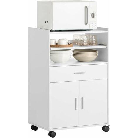 Desserte micro-onde à roulettes Meuble de rangement cuisine SoBuy® FSB09-W