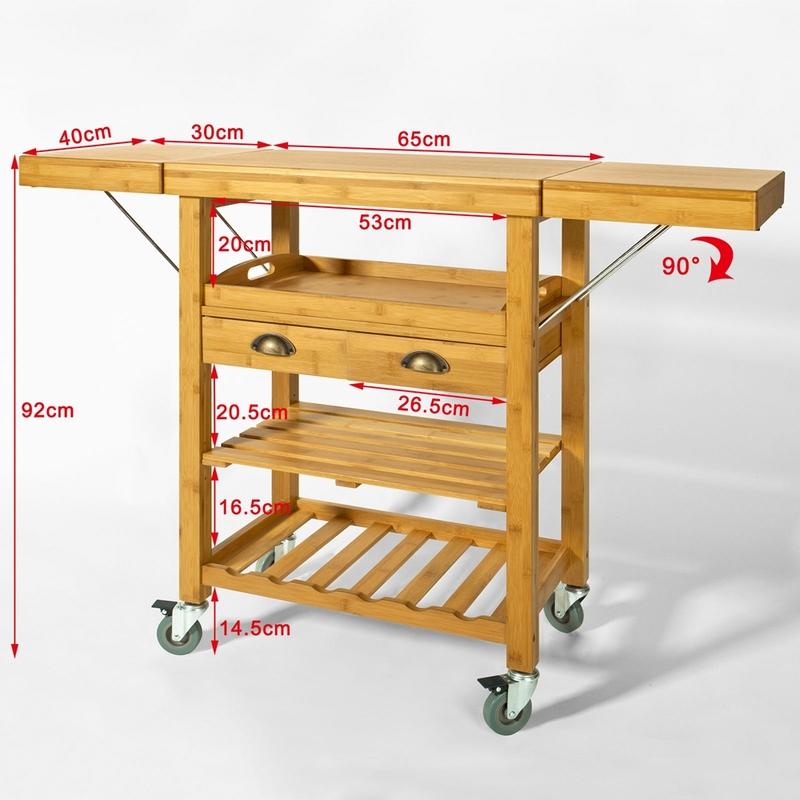 Desserte Roulante Chariot De Cuisine En Bambou Plans De Travail Rabattables Fkw25 N Sobuy