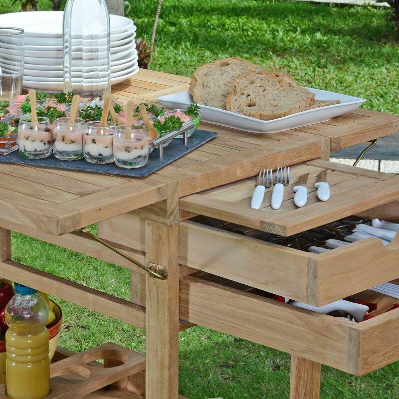 Faire Une Desserte En Bois desserte roulante en teck ecograde party