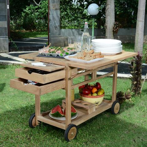 Desserte roulante en teck Ecograde Party - Naturel