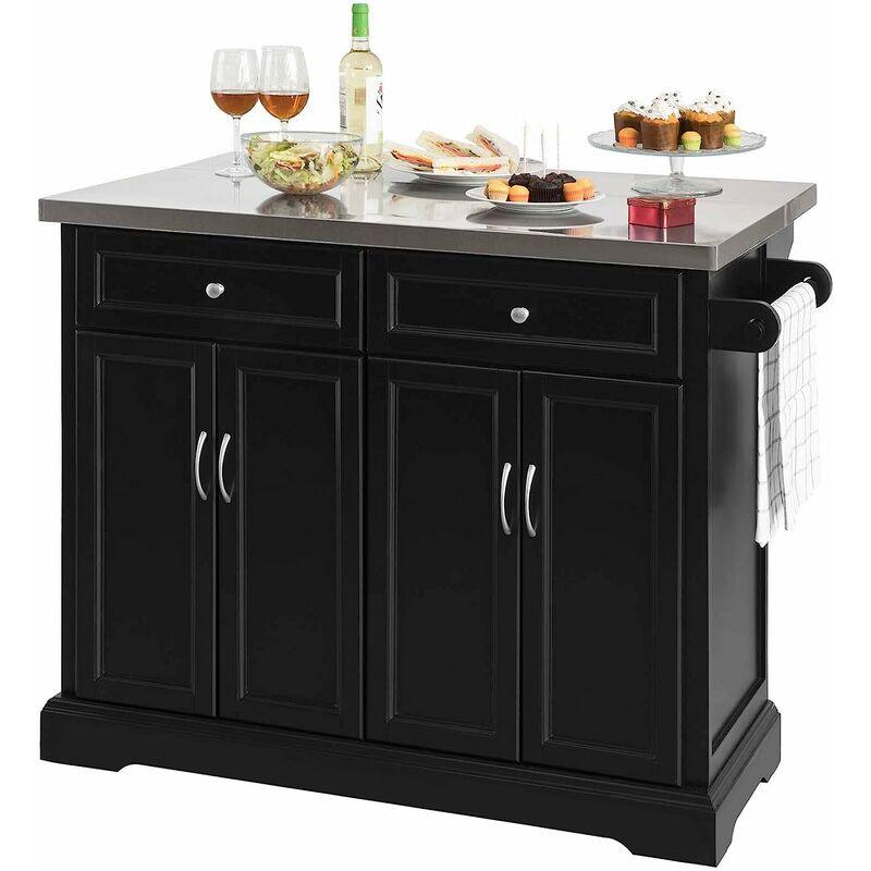Desserte sur roulettes meuble de cuisine de service - Plan de travail cuisine rabattable ...