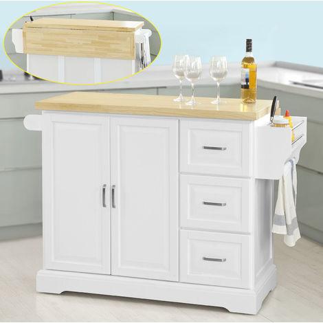 Desserte sur roulettes Meuble de Cuisine de Service Roulant en Bois - Plans de Travail Rabattables FKW41-WN SoBuy®