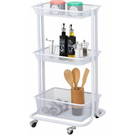 Desserte sur roulettes VALIENTE avec 3 bacs de rangement, chariot avec paniers pour cuisine, bureau ou chambre d'enfant, métal blanc