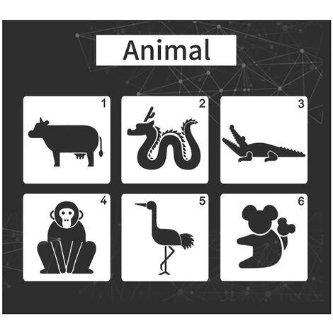 Dessin Enfants Pochoirs PET Peinture Mati¨¨re mod¨¨les r¨¦utilisables pour peinture bricolage Craft Journal Notebook Journal Scrapbooking Carte D¨¦coration, Animal