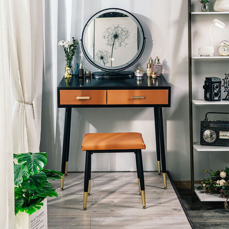 """main image of """"Dessing Table Set Modern Makeup Vanity Table with Touch Screen 3 Modes LED Mirror 2 Drawers Padded Stool"""""""