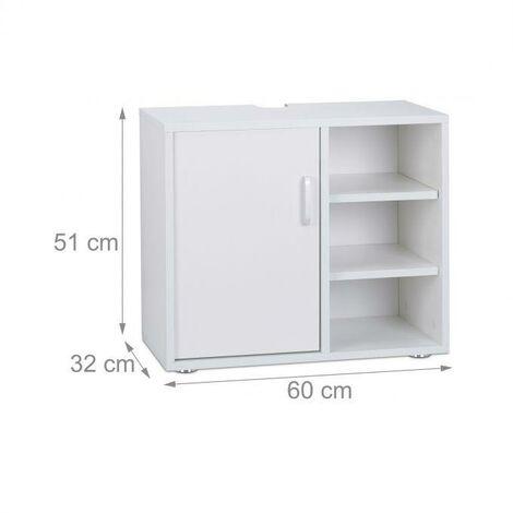 Dessous de lavabo 1 porte 3 étagères wc blanc - Blanc