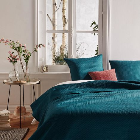 Dessus de lit bleu canard et 2 taies d'oreiller - 240 x 60 cm -PEGANE-