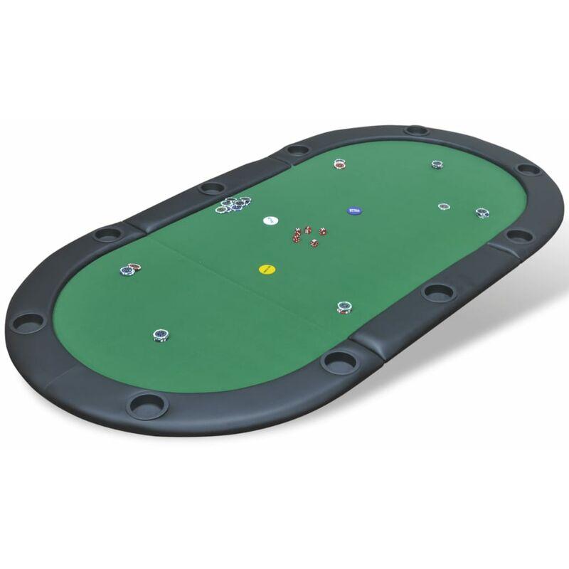 Dessus de table de poker pliable pour 10 joueurs Vert