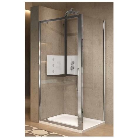 Déstock Novellini - Porte pivotante 78-84 x H.195 cm vitrage niva profilé silver - LUNES 2.0 G