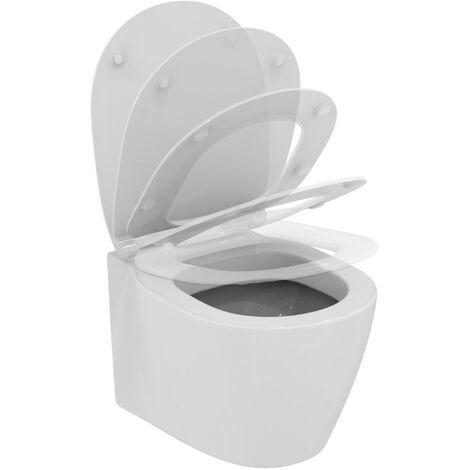 Déstockage - Ideal Standard - Cuvette WC suspendue et abattant avec frein de chute blanc en porcelaine - CONNECT SPACE