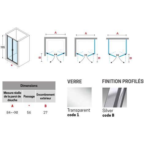 Déstockage - Novellini - Paroi de douche à 2 portes battantes 84-90 x H.195 cm verre transparent profilé silver - LUNES 2.0 B