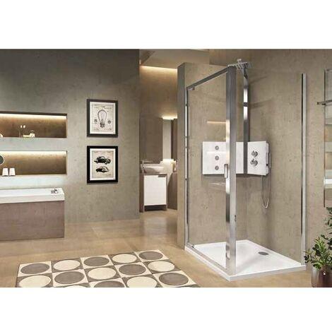 Déstockage - Novellini - Paroi fixe latérale 96-102 x 195 cm vitrage transparent profilé silver