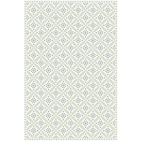 Déstockage Tapis vinyle carreaux de ciment - Apolline - Beige clair