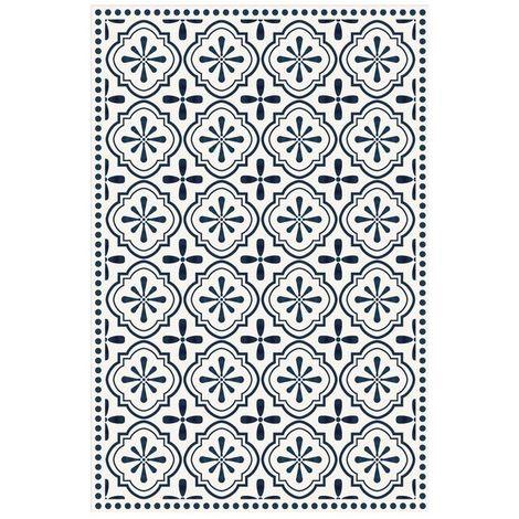 Déstockage Tapis vinyle carreaux de ciment Etoilé - Anna - Bleu