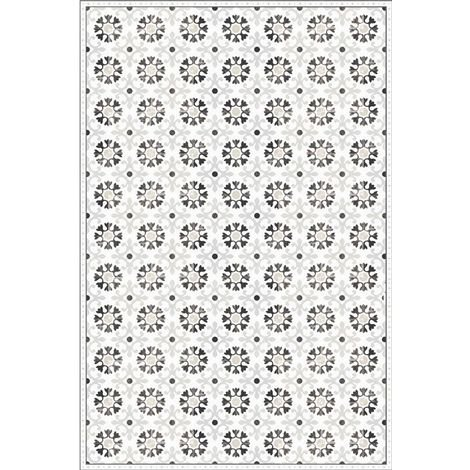 Déstockage Tapis vinyle carreaux de ciment Floral - Adèle - Noir et pastel
