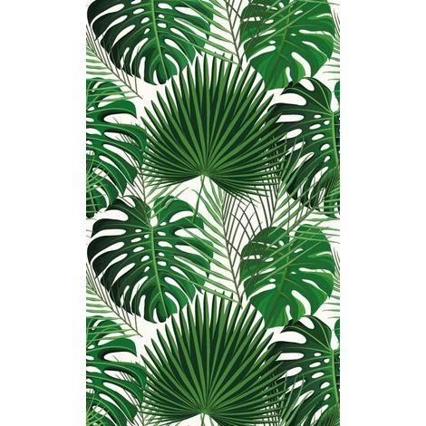 Déstockage Tapis vinyle - Imprimé feuilles tropicales vertes