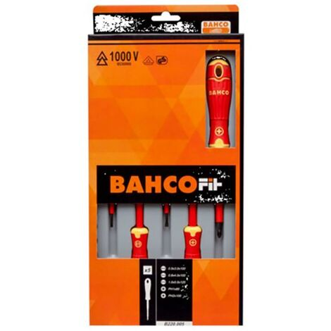 "main image of ""Destornillador Aislado Mango Bicomponente 3Recta+Ph1+Ph2 Bahco 5 Pz B220.005"""