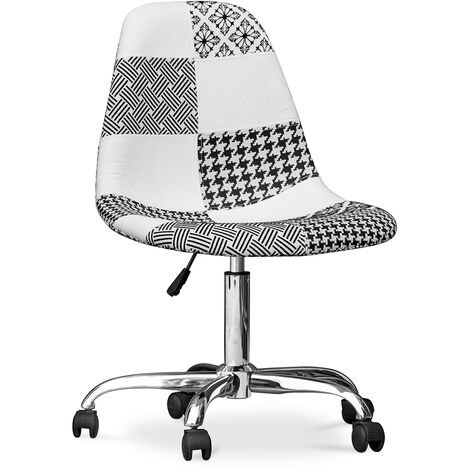 Deswick Office Chair White And Black - Patchwork White / Black