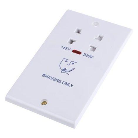 Deta S1305 Slimline Dual Voltage Shaver Socket White Moulded