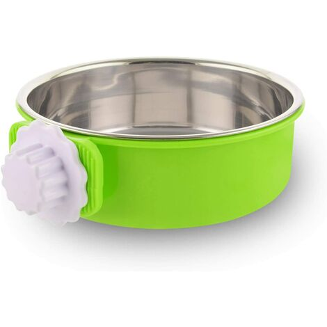Detachable Stainless Steel Dog Bowl Crate Hanging Pet Bowl Cage Small Water Bowl Feeder Dog Food Cats Rabbits Birdsgreen Pet Supplies